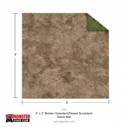 Monster Scenery 3x3 Broken Grassland / Desert Scrubland Game Mat