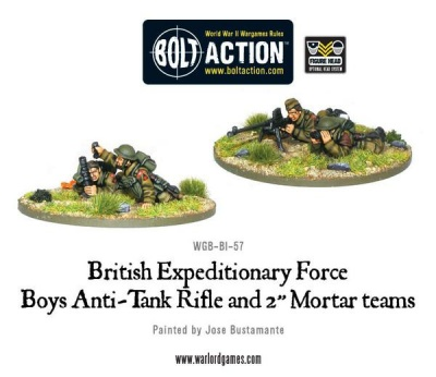 Early War BEF Anti-Tank Rifle Team & 2'' Light Mortar Teams